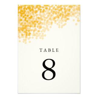 Golden Light Shower Table Number Cards
