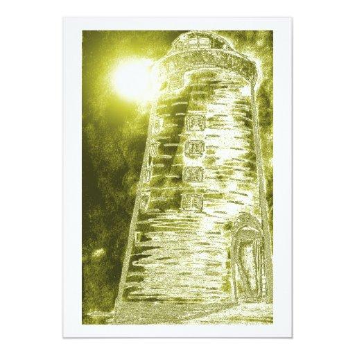 Golden Lighthouse Invitation