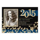 Golden Lights Blue and Black Grad Photo 5x7 Paper Invitation Card