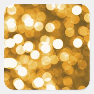 Golden lights square sticker