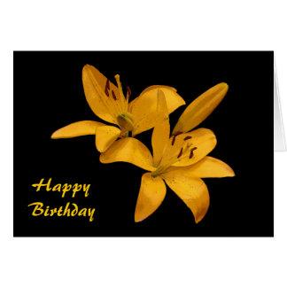 Golden Lilies Birthday Card