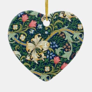 Golden Lilies Heart Ornament