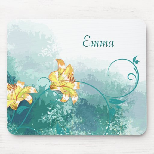 Golden Lilies Personalized Mousepad