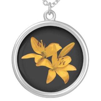 Golden Lilies Round Pendant Necklace