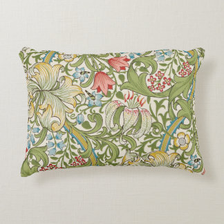 Golden Lily Floral by William Morris Accent Pillow