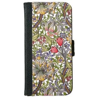 Golden Lily Vintage Floral Pattern William Morris Wallet Phone Case For iPhone 6/6s