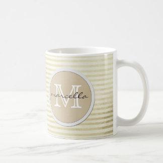 golden lines Stripes Background Monogram Coffee Mug
