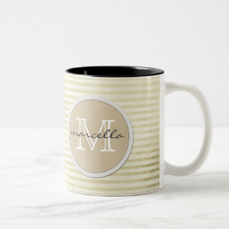golden lines Stripes Background Monogram Two-Tone Coffee Mug