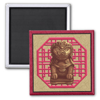 Golden Lion Dog Pixel Art Fridge Magnet