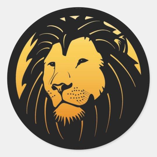 Golden Lion Head Logo Stickers Zazzle Com