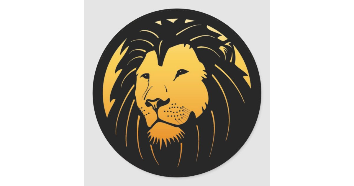 Golden Lion Head Logo Stickers | Zazzle.com
