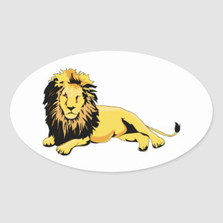 Golden Lion Lying Down Oval Sticker