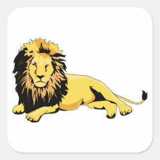 Golden Lion Lying Down Square Sticker