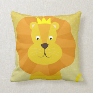 Golden Lion on Ombre Dots Throw Pillow