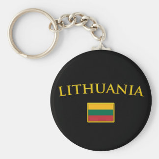 Golden Lithuania Basic Round Button Keychain