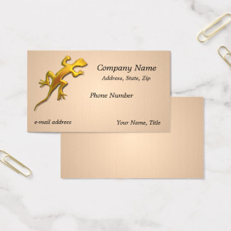 Golden lizard Linen Texture Business Card