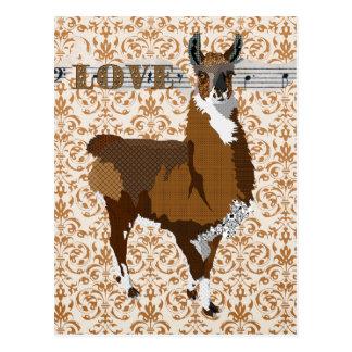 Golden Llama Love Damask  Postcard