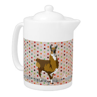 Golden Llama Pokadot Teapot at Zazzle