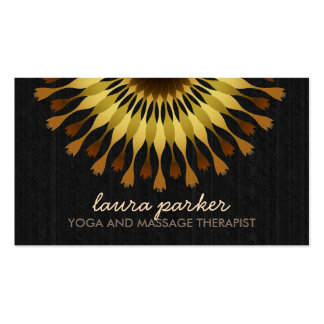Golden Lotus Flower Black Wood Yoga Health Massage Business Card
