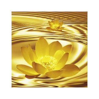 Golden lotus flower canvas print