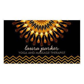 Golden Lotus Flower Chevron Yoga Health Massage Business Card