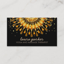 Golden Lotus Flower Confetti Yoga Health Massage Business Card