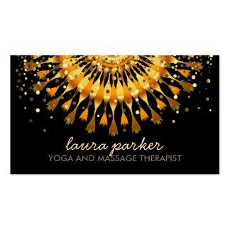 Golden Lotus Flower Confetti Yoga Health Massage Business Card