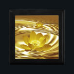 "Golden lotus flower keepsake box<br><div class=""desc"">The lotus flower represents one symbol of fortune in Buddhism. It grows in muddy water,  and it is this environment that gives forth the flower's first and most literal meaning: rising and blooming above the murk to achieve enlightenment. Finally,  the gold lotus flower represents all achievement of all enlightenment.</div>"