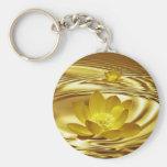 Golden lotus flower keychain