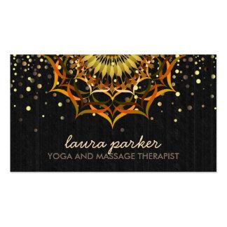 Golden Lotus Flower Mandala Yoga Health Massage Business Card