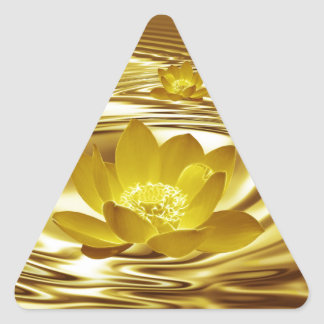 Golden lotus flower triangle sticker