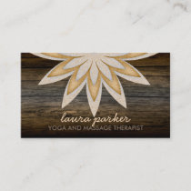 Golden Lotus Flower Wood Yoga Health Massage Business Card