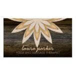 Golden Lotus Flower Wood Yoga Health Massage Business Card