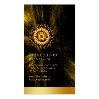 Golden Lotus Flower Yoga Meditation Health Spa Double-Sided Standard Business Cards (Pack Of 100)
