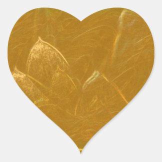 Golden Lotus Heart :  Embossed Gold Leaf Heart Sticker
