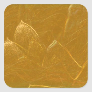 Beach Themed Golden Lotus Heart :  Embossed Gold Leaf Square Sticker