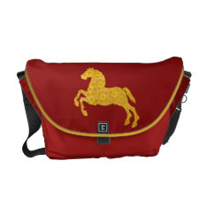 Golden Lotus Petal Pattern CNY Horse On Dark Red Courier Bag at Zazzle