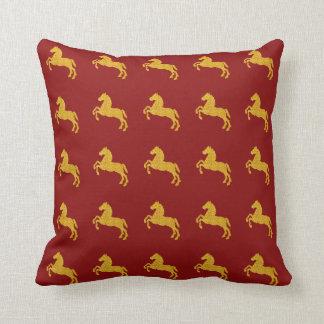 Golden Lotus Petal Pattern CNY Horse On Dark Red Throw Pillow