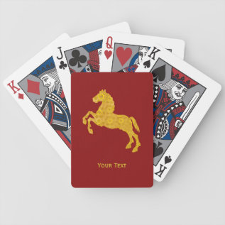 Golden Lotus Petal Pattern Horse On Dark Red Bicycle Playing Cards at Zazzle