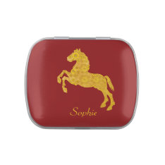 Golden Lotus Petal Pattern Horse On Dark Red Jelly Belly Candy Tins at Zazzle