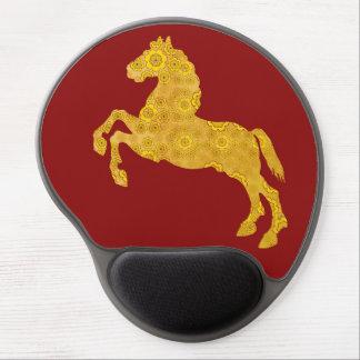 Golden Lotus Petal Pattern Horse On Dark Red Gel Mouse Pad