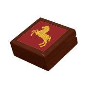 Golden Lotus Petal Pattern Horse On Dark Red Keepsake Boxes at Zazzle