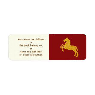 Golden Lotus Petal Pattern Horse On Dark Red Label at Zazzle