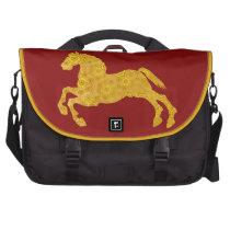 Golden Lotus Petal Pattern Horse On Dark Red Laptop Bag at  Zazzle