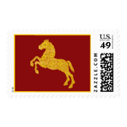 Golden Lotus Petal Pattern Horse On Dark Red Postage Stamp at Zazzle