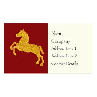 Golden Lotus Petal Pattern Horse On Dark Red Business Card