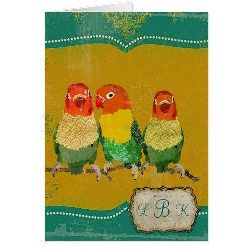 Golden Love Birds Monogram Notecard Stationery Note Card