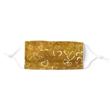 Golden Love Heart Shape Adult Cloth Face Mask