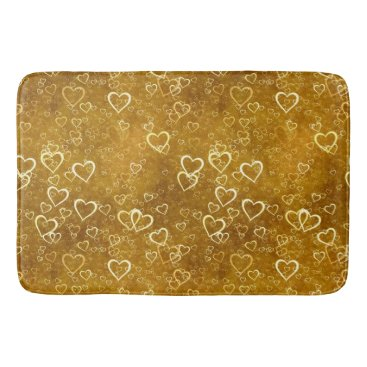 Golden Love Heart Shape Bath Mat