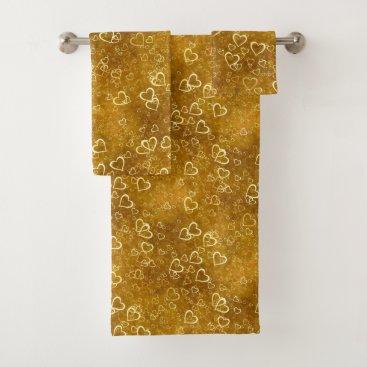Golden Love Heart Shape Bath Towel Set